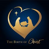 Christmas Scene Of Baby Jesus In The Manger With Mary And Joseph In Golden Silhouette In Heart. Chri poster