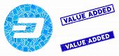 Mosaic Dash Coin Icon And Rectangular Value Added Watermarks. Flat Vector Dash Coin Mosaic Icon Of R poster