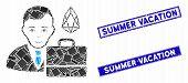 Mosaic Eos Accounter Icon And Rectangular Summer Vacation Seal Stamps. Flat Vector Eos Accounter Mos poster