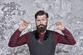 Proper Service. Facial Hair Care. Hiring Barber. Barber Career. Barber Salon. Man Bearded Hipster Wi poster