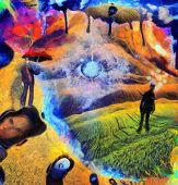 Surreal painting. Businessman is thinking in the field. Man with red umbrella is hovering in the sky poster