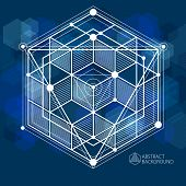 Vector Of Modern Abstract Cubic Lattice Lines Blue Black Background. Layout Of Cubes, Hexagons, Squa poster