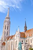 Tower Of The Matthias Church In Budapest, Hungary On A Vertical Photo. Roman Catholic Church In The  poster