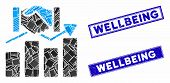 Mosaic Acquisition Graph Icon And Rectangle Wellbeing Rubber Prints. Flat Vector Acquisition Graph M poster