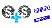 Mosaic Financial Sum Icon And Rectangle Result Seal Stamps. Flat Vector Financial Sum Mosaic Icon Of poster
