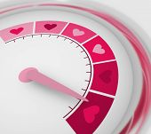 Color Scale With Arrow From Pink To Dark Pink. The Measuring Device Icon. Sign Tachometer, Speedomet poster