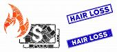 Mosaic Dollar Banknotes Fire Icon And Rectangular Hair Loss Seal Stamps. Flat Vector Dollar Banknote poster
