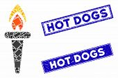 Mosaic Fire Torch Icon And Rectangle Hot Dogs Seal Stamps. Flat Vector Fire Torch Mosaic Icon Of Ran poster