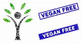 Mosaic Eco Man Pictogram And Rectangle Vegan Free Seals. Flat Vector Eco Man Mosaic Pictogram Of Ran poster