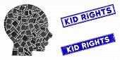 Mosaic Head Pictogram And Rectangular Kid Rights Seals. Flat Vector Head Mosaic Pictogram Of Randomi poster
