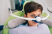 Little Boy Getting Inhalation Sedation While Teeth Treatment At Dental Clinic. Teeth Treatment Child poster