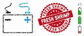 Mosaic Accumulator Icon And Rubber Stamp Watermark With Fresh Shrimp Phrase. Mosaic Vector Is Formed poster