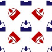 Blue And Red Download Inbox Icon Isolated Seamless Pattern On White Background. Add To Archive. Vect poster