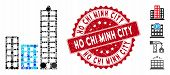 Mosaic City Icon And Grunge Stamp Seal With Ho Chi Minh City Text. Mosaic Vector Is Designed With Ci poster