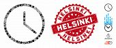Mosaic Clock Icon And Distressed Stamp Seal With Helsinki Phrase. Mosaic Vector Is Composed With Clo poster