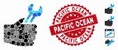 Mosaic Service Hand Icon And Corroded Stamp Seal With Pacific Ocean Text. Mosaic Vector Is Created W poster