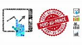 Mosaic Tap Trend On Pda Icon And Rubber Stamp Seal With Port-au-prince Phrase. Mosaic Vector Is Crea poster
