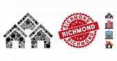 Mosaic Town Buildings Icon And Corroded Stamp Seal With Richmond Phrase. Mosaic Vector Is Composed W poster