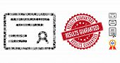 Mosaic Diploma Icon And Rubber Stamp Seal With Results Guaranteed Caption. Mosaic Vector Is Formed W poster