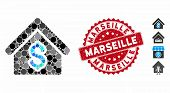 Mosaic House Rent Icon And Rubber Stamp Seal With Marseille Text. Mosaic Vector Is Formed With House poster