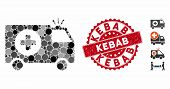Collage Emergency Icon And Rubber Stamp Seal With Kebab Text. Mosaic Vector Is Designed With Emergen poster