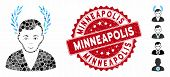 Mosaic Man Glory Icon And Grunge Stamp Seal With Minneapolis Caption. Mosaic Vector Is Formed With M poster
