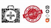 Mosaic First Aid Icon And Grunge Stamp Watermark With Live And Let Live Text. Mosaic Vector Is Compo poster