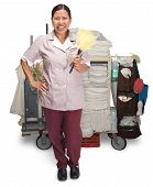 foto of housekeeping  - Female hotel maid with housekeeping cart isolated on a white background - JPG