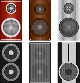 Audio Speaker, A Set Of Realistic Audio Speakers. Six Different Audio Pads. Flat Design poster