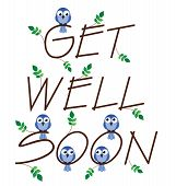 stock photo of get well soon  - Get well soon twig text isolated on white background - JPG