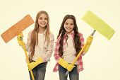 Sisters Hold Wet Mops Ready Start Cleaning Day. Girls Cute Kids Cleaning Around. Keep It Clean. Help poster