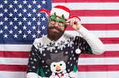 Liberty And Justice For All. American Tradition. Santa Claus On American Flag. Celebrate Xmas And Ne poster