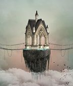 Fantasy Flying House - Conceptual 3d Illustration About Travelling With Your Mind poster