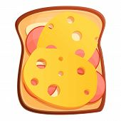 Toast Cheese Icon. Cartoon Of Toast Cheese Vector Icon For Web Design Isolated On White Background poster