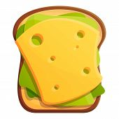 Morning Toast Cheese Icon. Cartoon Of Morning Toast Cheese Vector Icon For Web Design Isolated On Wh poster