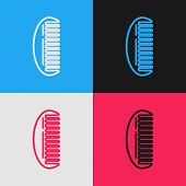 Color Line Hairbrush Icon Isolated On Color Background. Comb Hair Sign. Barber Symbol. Vintage Style poster