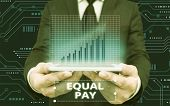 Writing Note Showing Equal Pay. Business Photo Showcasing Rights That Individuals In The Same Workpl poster