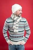 Fashionable Wear For Chilly Season. Happy Man In Fashionable Winter Style Red Background. Mature Man poster