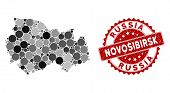 Mosaic Novosibirsk Region Map And Round Seal Stamp. Flat Vector Novosibirsk Region Map Mosaic Of Sca poster