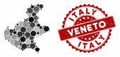 Mosaic Veneto Region Map And Circle Seal Stamp. Flat Vector Veneto Region Map Mosaic Of Random Spher poster