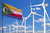 Comoros Alternative Energy, Wind Energy Industrial Concept With Windmills And Flag - Alternative Ren poster
