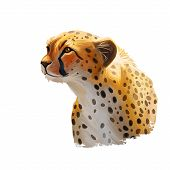 Cheetah Large Cat From North, Southern East Africa Isolated Digital Art Illustration. Southeast Afri poster