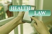 Text Sign Showing Health Law. Conceptual Photo Law To Provide Legal Guidelines For The Provision Of  poster
