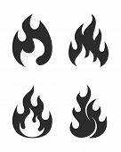 Flame Graphic Icons Set. Flame Signs Isolated On White Background. Flame Symbols In Flat Design. Vec poster