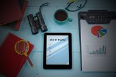 401k Plan Text On Tablet With Cup Of Coffee, Pen And Smartphone. poster