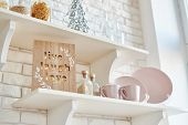 Christmas Decor In Kitchen. Christmas Tableware. Christmas Cooking Utensils. Bright Interior Of New poster