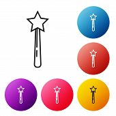 Black Line Magic Wand Icon Isolated On White Background. Star Shape Magic Accessory. Magical Power.  poster