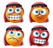 Angry Saudi Arab Emoji And Emoticon Vector Set. Emoticons Of Saudi Arabian Wearing Thawb In Angry, S poster
