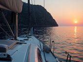 Meet The Sunset In The Bay On Board The Yacht, A Romantic Evening At Sea. Boat Trip On A Yacht Under poster