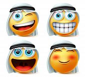 Arab Emoticon Or Emojis Vector Set. Saudi Arab Emoticon Face Head With Naughty And Excited Wearing T poster